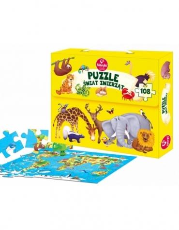 Puzzle Świat Zwierząt Mapa 108 Elementów - Kukuryku