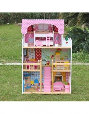 Domek dla lalek Drewniany Melisa Piętrowy Różowy @C1