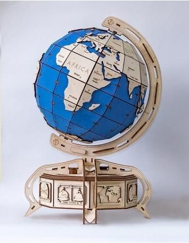 Drewniane puzzle mechaniczne 3D Wooden.City Globus blue T1