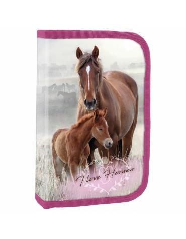 PIÓRNIK DWUKLAPKOWY Z WYPOSAŻENIEM I LOVE HORSES KOŃ KONIKI