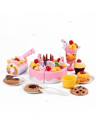Tort urodzinowy do krojenia, kuchnia - 75 el. różowy @E1