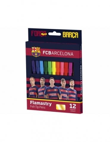 FLAMASTRY 12 kolorów FC BARCELONA Mazaki